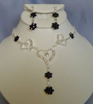 Clear Hearts & Black Flowers Rhinestone Necklace Set