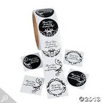 Black & White Damask Thank You Stickers - Pkg 200