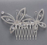 Double Butterfly Rhinestone Hair Comb