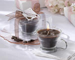 Espress Your Love Coffee-Scented Glass and Chrome Caffe' Cup Candle