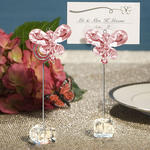 Exquisite Pink Crystal Butterfly Place Card Holders (Set of 12)