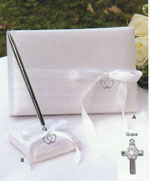 Silver Cross Guest Book & Pen Set