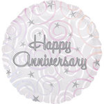 18 Happy Anniversary Swirls Mylar Balloon