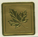 Gold Foil Embossed Maple Leaf Seals - Pkg 25