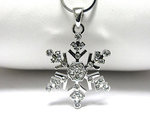 6 Point White Gold Plated Snowflake Necklace