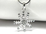 8 Point Silver Snowflake & Rhinestone Necklace
