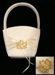 Ivory Rhinestone Maple Leaf Flower Basket