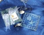 Beach Theme Seashell Frosted Glass Coasters - Pkg 4