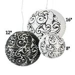 Black & White Damask Design Paper Lanterns - Set of 3