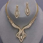 Dazzling Marquis Drop Rhinestone Necklace Set
