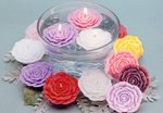 3 Floating Rose Candle - White