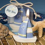 Heart Design Sailboat Candle Favor