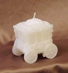 White Wedding Carriage Candle Favor