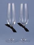 Love Links Black Ribbon Toasting Flutes