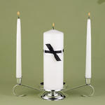 Love Links Black & White Unity Candle & Taper Candles Set