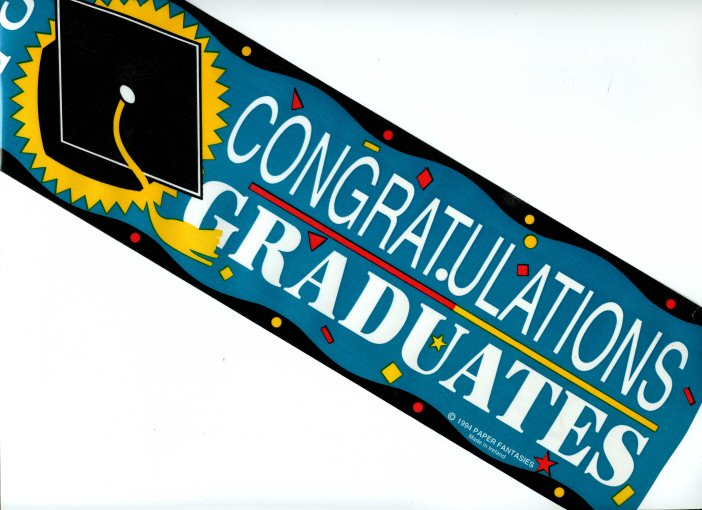 congratulations graduates banner sold by the message