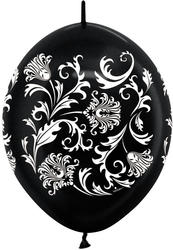 12 Link-o-Loon Arch Balloons - Black or White Damask