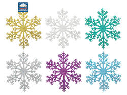 10 Glistening Glitter Snowflake Ornament - Colors!