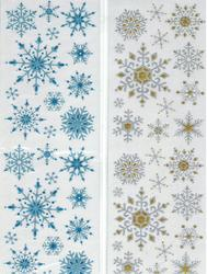 24 Glitter Snowflake Stickers - Colors!