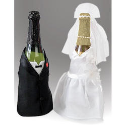 Bride and Groom Bottle Covers - 2 pieces