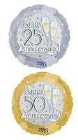 25th or 50th Anniversary Glasses Design Mylar Balloon