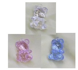 1 Transparent Baby Bear Favors - 3 Colors - Pkg 12