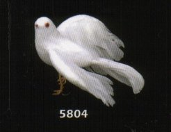 4 Inch White Feather Flying Dove