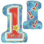 1st Birthday Boy Design Super Shape Mylar Balloon