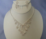 Snowflake Multi-drop Rhinestone Necklace Set - 2 Colors!