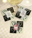 Heart Design Glass Photo Coasters