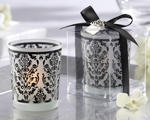"""Damask Traditions"" Black and White Frosted Glass Tea Light Holder"