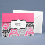 Damask & Crest Fuchsia Thank You - Pkg 50