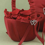 With All My Heart Flower Basket - Claret Red