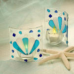 Blue Fusion Glass Shell Candle Holders