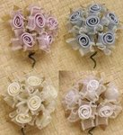 72 Satin Rose Organza Favor Flowers - 4 Colors!