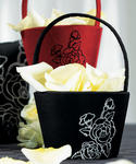 Silhouettes in Bloom Flower Girl Basket in Red or Black