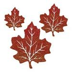 Small Glittered Maple Leaves - Pkg 4