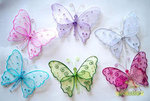 12 Organza Swirls Sequins & Beads Butterfly - Colors!