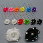 Rhinestone Accented Glitter Rose Hair Pin - Colors!