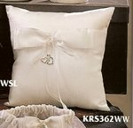 Dangling Hearts Ring Bearer Pillow - White or Ivory