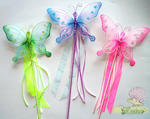 7.5 Nylon Glitter/Gem/Bead Butterfly Wand - Colors!