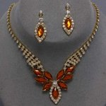 Leaves of Color Rhinestone Necklace Set - 6 Colors!