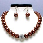 Brown Glass Pearl Tiffany Ball Necklace Set