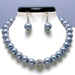 Silver/Grey Glass Pearl Tiffany Ball Necklace Set