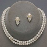 Lines & Leaf Pearl Rhinestone Necklace Set - White or Ivory