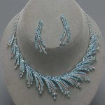 Blue Irresistible Icicle Rhinestone Necklace Set