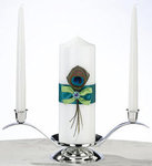Peacock Feather Pillar Candle and Two Tapers