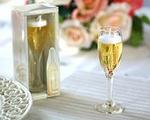 Champagne Gel Glass Candle Favor